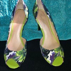 Marc Fisher multi color Satin Peep toe pumps